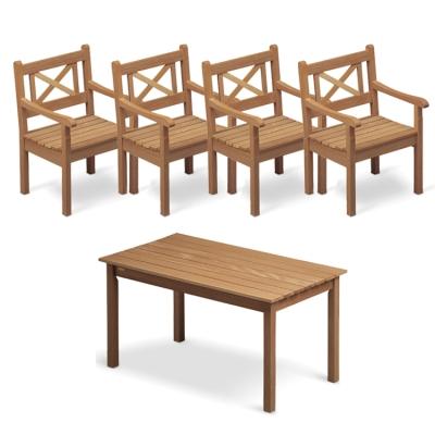Skagen teakgrupp – 4 stolar + 1 bord