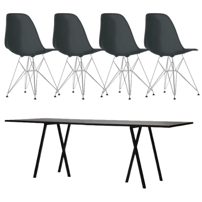 Loop Stand 180 svart + 4 DSR-stolar