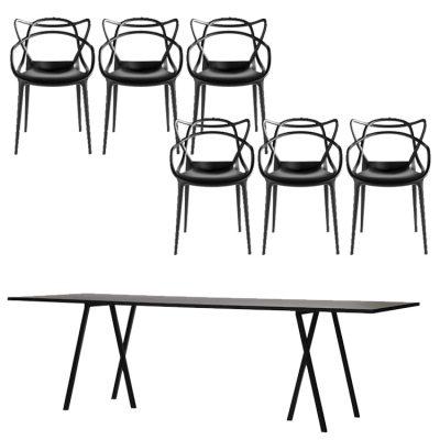Loop Stand 200 svart + 6 Masters-stolar