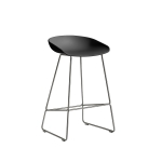 About a Stool 38 barstol h65, soft black/rostfritt