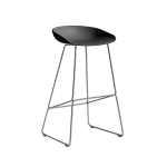 About a Stool 38 barstol h75, soft black/rostfritt