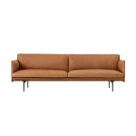 Outline 3-sits soffa, silk leather/cognac