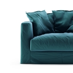 Le Grand Air Loveseat sammet klädsel, Kingfisher