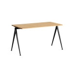 Pyramid desk 01 140x65, black frame/clear
