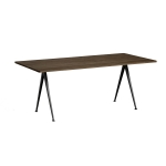 Pyramid table 02 190x85, black frame/smoked