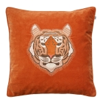 Embroidered Tiger Velvet kuddfodral M, orange