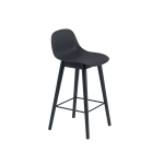 Fiber Wood bar stool w.back, svart