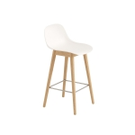 Fiber Wood bar stool w.back, naturell vit/ek