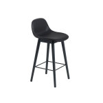 Fiber Wood bar stool w.back, svart läder/svart