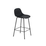 Fiber Tube bar stool w.back, svart