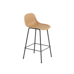 Fiber Tube bar stool w.back, ochre/svart