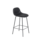 Fiber Tube bar stool w.back, svart läder/svart