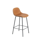 Fiber Tube bar stool w.back, konjak läder/svart