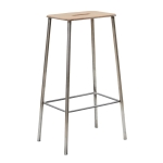 Adam Stool 76 barstol, läder/raw steel