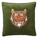 Embroidered Tiger Velvet M, cactus green