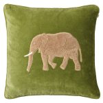 Embroidered Elephant Velvet M, cactus green