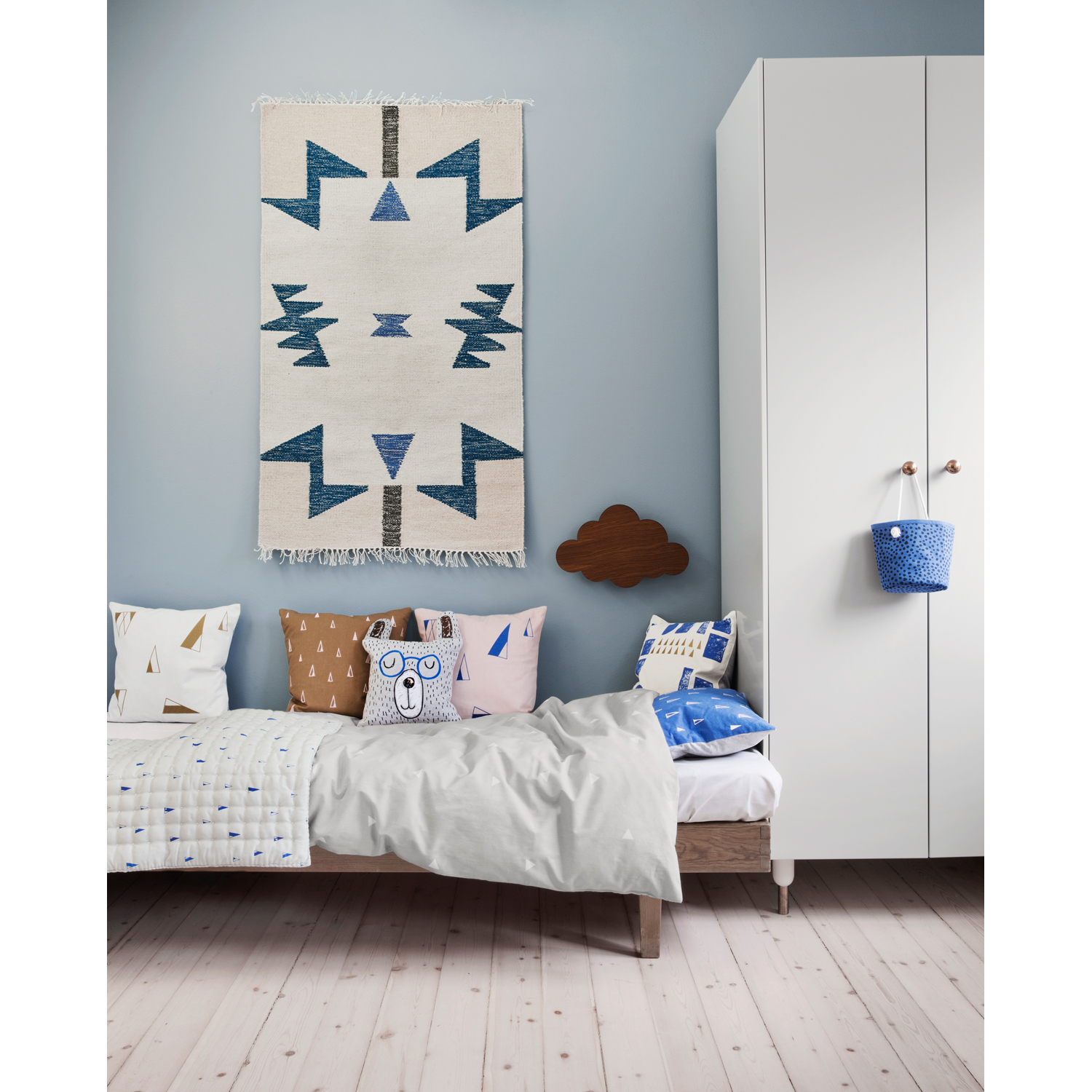 Kelim matta, blue triangles Рferm living Рk̦p online p̴ rum21.se